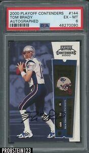 2000 Playoff Contenders Rookie Ticket Tom Brady RC AUTO Patriots PSA 6 EX-MT