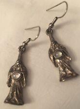 JJ Jonette Jewelry Solid Pewter WIZARD  SORCERER w/ Crystal Ball Earrings