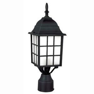 Bel Air Lighting Cityscape 1-Light Outdoor Black Post Top Lantern w/Frosted Glas