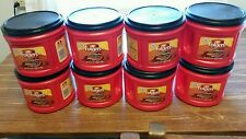 Lot of (8)  empty foldgers coffee containers w/lids for storage,crafts.