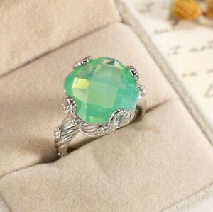Special Fire Square Green Moonstone Gems Silver Rings Size 6~10 Holiday Gifts