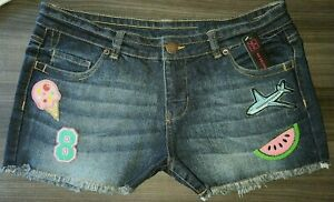 9 Juniors NOBO Patched Frayed Dark Wash Stretch Denim Shorts Ice Cream Peace