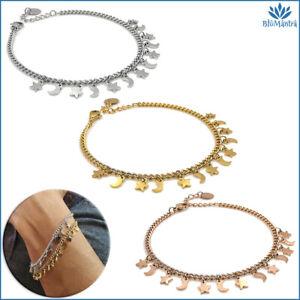 Bracciale da donna con ciondoli maglia stella luna acciaio inox braccialetto per
