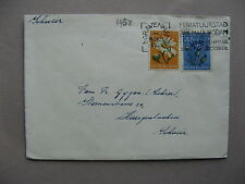 NETHERLANDS, cover to Switzerland 1952, 2 stamp franking flowers, zomerzegels