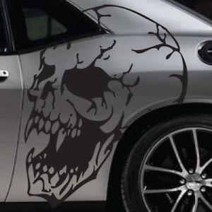 Tribal Large Skull Fangs Side Hood Door Grunge Vehicle Vinyl Graphic Decal Truck
