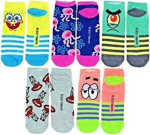 SPONGEBOB SQUAREPANTS 5-Pack Low Cut No Show Socks Ages 9 & Up (Shoe Sizes 4-10)