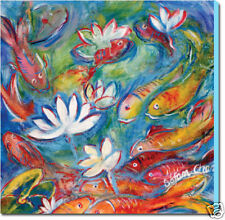 FENG SHUI  FISH PAINTING  ART GICLEE PRINT ON CANVAS