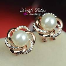 18K Rose Gold Plated Flower Pearl Stud Earrings Made With SWAROVSKI Crystal clip