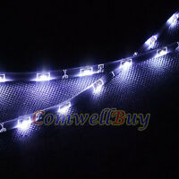 "2x 60CM 24"" 12V Car SMD Side-emitting Glow Drl Driving Flexible LED Strip Light"