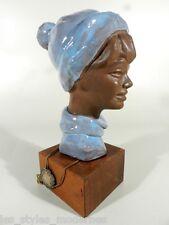 P.SERESTE' Belgien 50 / 60er Jahre Keramik ° signierter Terrakotta Kopf