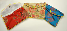 "Silk Jewelry Chinese Pouch Bag Roll Assorted FOUR DOZEN Zipper - 6 1/2"" x 4"""