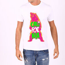 California Bear Neon T -Shirt,Graphic, Whites Tee ,100% Cotton , Short Sleeve