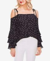 Vince Camuto Top Blouse Black Polka dots Cold Shoulders Sz M NEW NWT 248