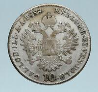 1838 Austria Emperor FERDINAND I Antique Silver Coin 10 Kreuzer Eagle i83189
