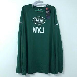 New Mens Under Armour HeatGear Green NFL New York Jets Long Sleeve Shirt Sz XXL