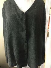 Eileen Fisher button front shirt Jacket Textured Black Ivory sz L V neckline
