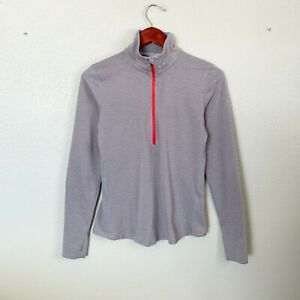 Under Armour Size S Small Grey & Pink Striped 1/4 Zip Running Top Women's