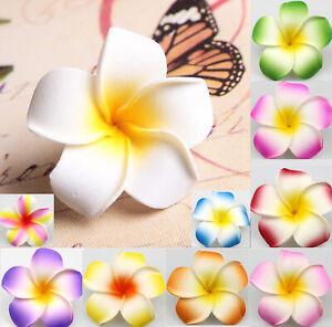 """10Pcs Hawaiian Frangipani Plumeria Foam Head Flower Party Beach Hair Clip 2"""""""