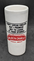 Shot Glass Carlos & Charlie's Restaurant Cancun Mexico Ceramic Vintage
