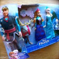 "Disney FROZEN KRISTOFF & ELSA & ANNA OLAF SVEN 12"" dolls Mattel Princess Friends"