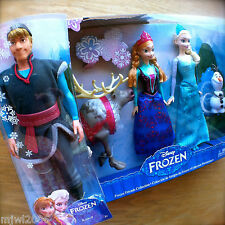 "Disney FROZEN KRISTOFF & ELSA & ANNA OLAF SVEN 12"" dolls Mattel Princess Friends"