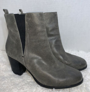 Shoes Of Prey Size 13 Distressed Ankle Boots Elastic Gusset Booties Leather Boho