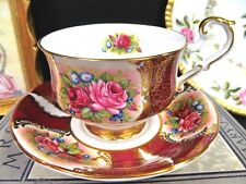 PARAGON tea cup and saucer red roses & red color gold gilt filigree  teacup