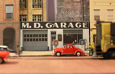 #230 N scale background building flat   MD GARAGE   *FREE SHIPPING*
