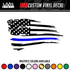 Police Lives Matter Distressed American Flag Vinyl Decal Sticker Thin Blue Line