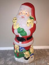 "New Listing42"" Lighted Blow Mold Santa With Puppies Christmas Decor"