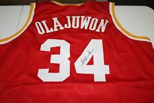 1cff31548 HOUSTON ROCKETS HAKEEM OLAJUWON  34 SIGNED PRO STYLE CUSTOM JERSEY JSA  WITNESS