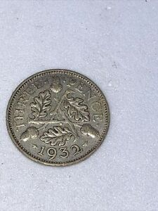 SILVER (.500) three pence 3d coin 1932 - oak leaves and acorns - King George V