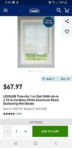 Levolor 66x72 Aluminum Blinds 929776 ACTUAL SIZE 61IN BY 72IN