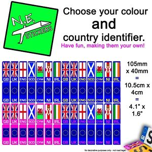 Car Number Plate Vinyl Sticker (s) Choose country flag GB UK EU IRL SCO NI CYM