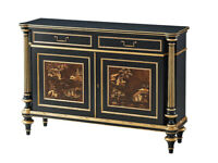 Theodore Alexander French Louis XVI Ebony & Chinoiserie & Gold Server Buffet NEW