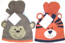 Carter's Infant Boy' Knit Winter Hat & Mitten Set NWT Monkey/Tiger 12 -24 Months