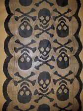 Halloween Skull LACE Bones Mantle/Table Runner 14 x 72 Black lace Decor GOTHIC