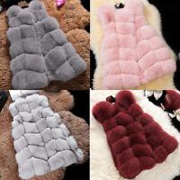 Women Stylish Winter Warm Gilet Outwear Vest Faux Fox Fur Waistcoat Jacket Coat
