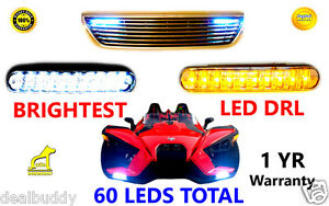 FIT FOR Polaris Slingshot SL LE White Fog Dual LED DRL Light + Amber Turn Signal