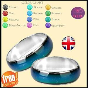 Mood Ring Colour Changing Gift Adults Silver Colour & Mood Chart Sizes Available