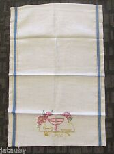 Beautiful Vintage Linen Kitchen Tea Towel Embroidered GLASS Blue Gold Stripes