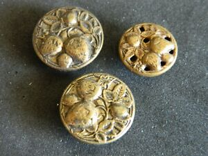 lot of 3 Antique Vtg Brass STRAWBERRY Fruit Picture Buttons