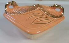 Maurice of California Pottery Brown Dish with Light Orange/Gold Swan Lid L40