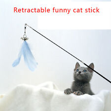 Funny Feather Stick Cat Toy Telescopic Wood Bell Play Wand Teasing Interactive