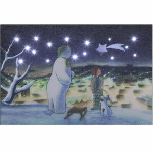 The Snowman, The Snowdog & Billy on the Hilltop Illuminated Canvas 15cm x 10cm