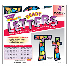 Stained Glass 4-Inch Combo Classroom Display Ready Letters - 216 Characters