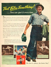 1942 WW2 era soft drink AD COCA COLA War Plant Worker w/ lunchbox  022016