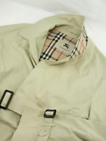 Burberry London Nova Check Trench Coat Mens Size S Small Beige Belted Overcoat