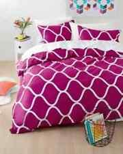 Geometric Print Dark Pink Purple White 3pc Doona / Quilt Cover Set - Double Bed