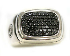 DAVID YURMAN NEW Mens Wide Pave Signet Black Diamond Ring Silver 10